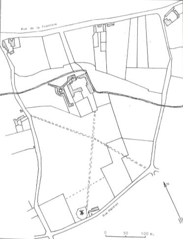 Plan de localisation cadastrale du Moulin du Château ou du Prince à Blaugies
