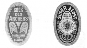 Quelques exemples d'étiquette des Grandes Brasseries de Blaugies S.A.