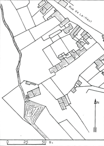 Plan de localisation cadastrale du moulin à eau Nollet à Elouges