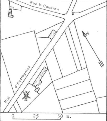 Plan de localisation cadastrale du moulin de la Chapelle à Elouges