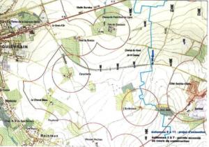 Position du parc éolien de Dour sur une carte