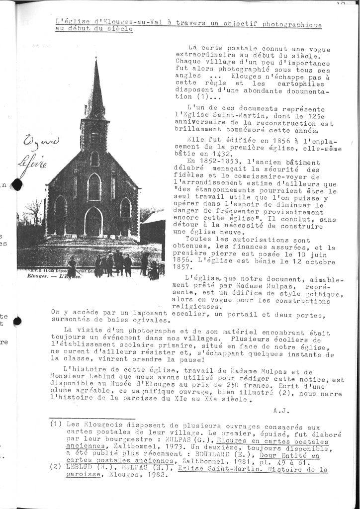 Alain Jouret - L'église d'Elouges-au-Val
