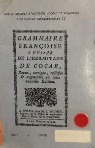 Grammaire françoise à l'usage de l'hermitage de Cocar