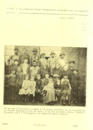 Alain Jouret - 1886 création d'une commission d'enquête sur le travail
