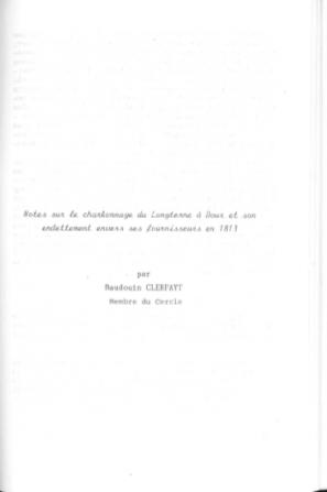 Baudouin Clerfayt - Note sur le charbonnage du Longterne