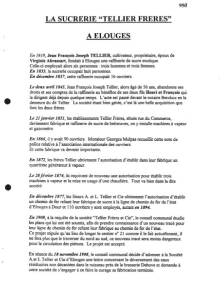Marie-Thérèse Capouillez- La sucrerie Tellier Frères à Elouges