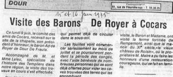 Visite des Barons de Royer à Cocars