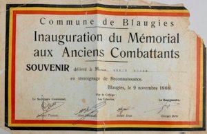 Souvenir de l'inauguration du Mémorial aux Anciens Combattants à Blaugies