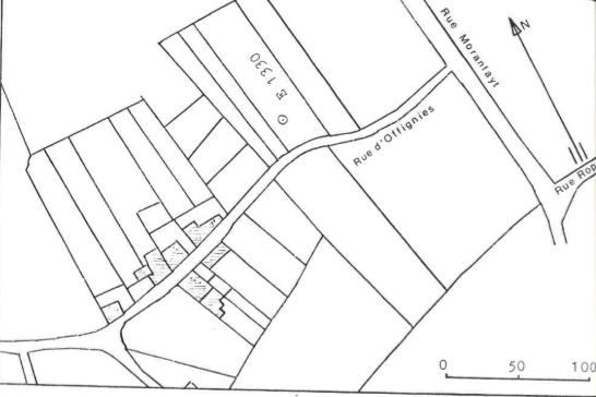 Plan de localisation cadastrale du Moulin d'Offignies de Dour