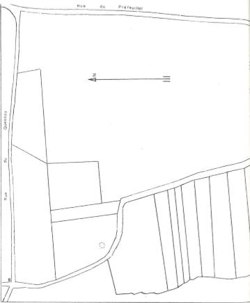 Plan de localisation cadastrale du moulin de la Rosière à Elouges
