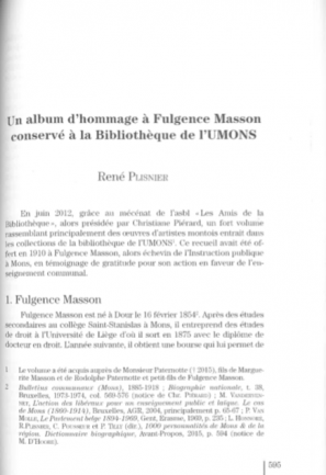 René Plisnier - Fulgence Masson