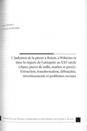 Alain Jouret - L'industrie de la pierre à Roisin