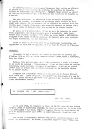 Charles Masy - Un dossier sur les Chevalières