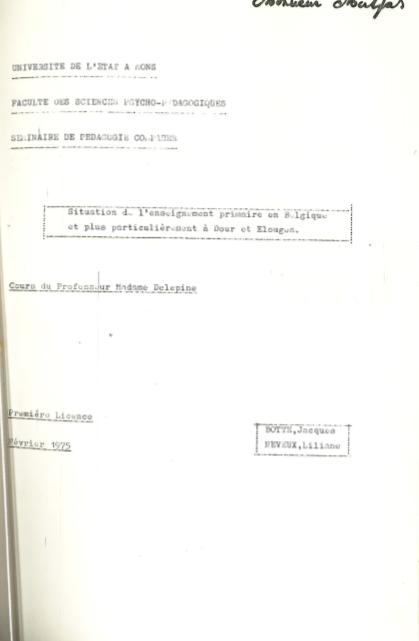 Jacques Botte - Situation de l'enseignement primaire en Belgique
