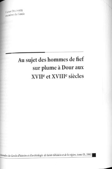 Victor Delporte - Au sujet des hommes de fief