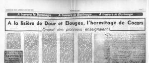 A la lisière de Dour et d'Elouges l'hermitage de Cocars : Quand les pionniers enseignaient
