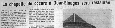 Audin Alain - La chapelle de Cocars à Dour-Elouges sera restaurée