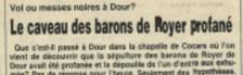 Le caveau des barons de Royer profané