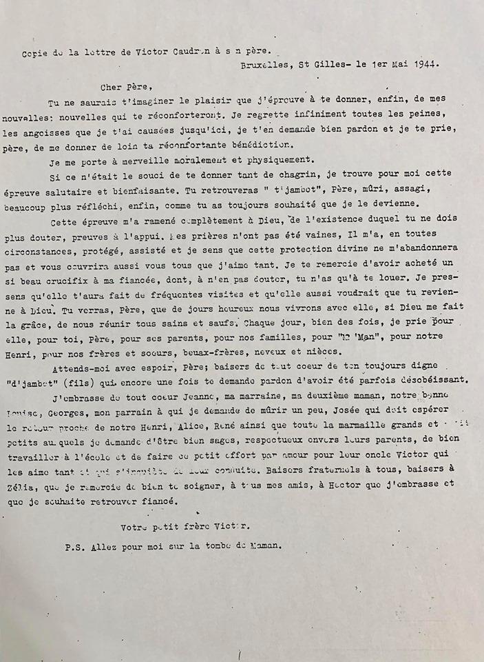 Lettre de Victor Caudron à son père