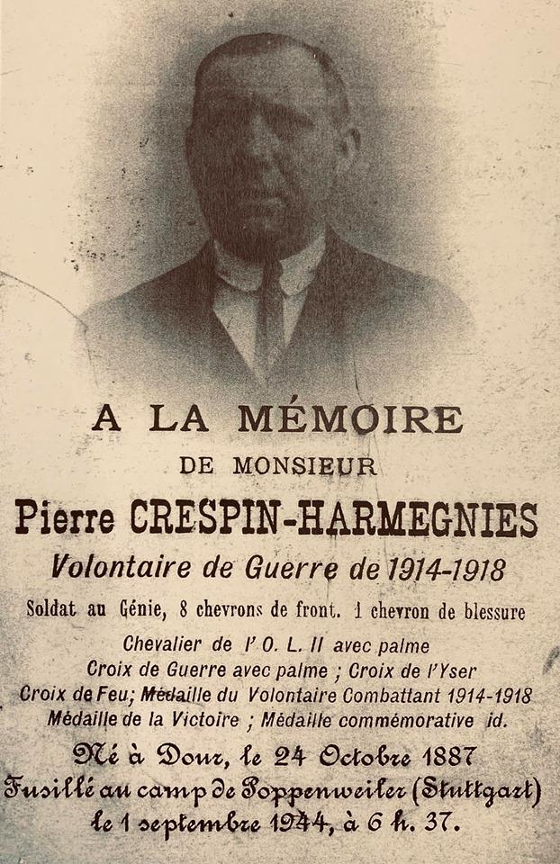 Pierre Crespin Harmegnies - Arrêté par la Gestapo, le 13 septembre 1943 lors de la rafle des Arcades à Saint-Ghislain