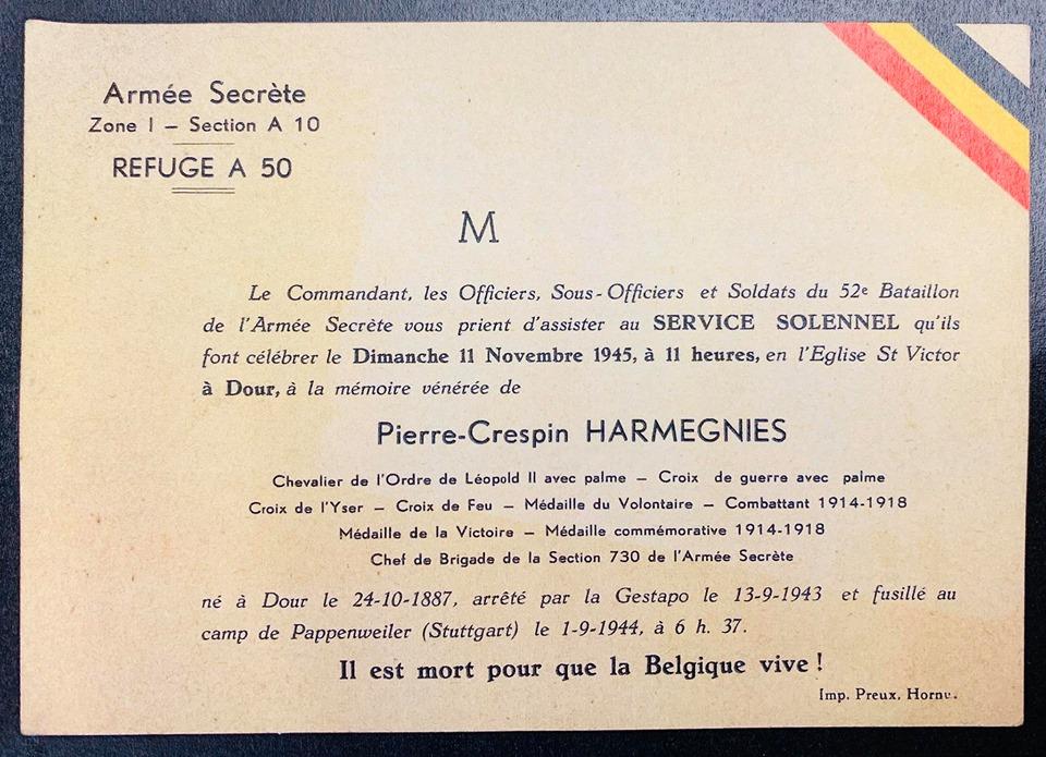 Pierre Crespin Harmegnies - Arrêté par la Gestapo, le 13 septembre 1943, lors de la rafle des Arcades à Saint-Ghislain.
